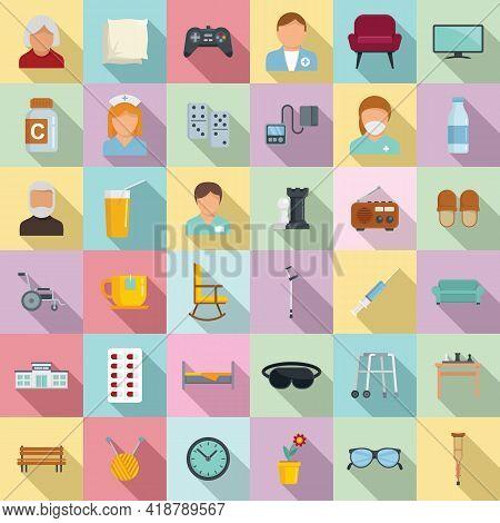Nursing Home Icons Set. Flat Set Of Nursing Home Vector Icons For Web Design
