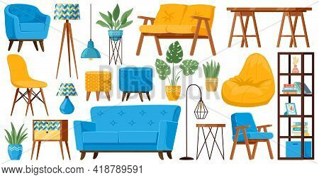 Living Room Furniture. Cartoon Cozy Home Furniture Items, Sofa, Armchair, Table, Lamp And Couch Vect