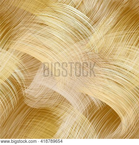 Seamless Webbed Pattern With Grunge Striped Wavy And Arc Elements In White, Yellow, Beige Pastel Col