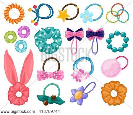 Hair Rubber Bands. Cartoon Scrunchies, Girlish Beauty Fashion Hair Accessories, Elastic Ponytails Ba