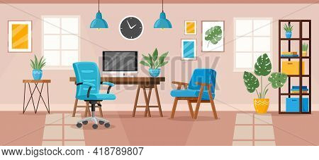 Office Interior. Modern Office Workspace, Workplace Room Interior With Desk, Chair, Armchair And Boo
