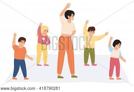 Teacher And Kids Exercising. Preschool Teacher Doing Gymnastics Together With Pupils Isolated Vector
