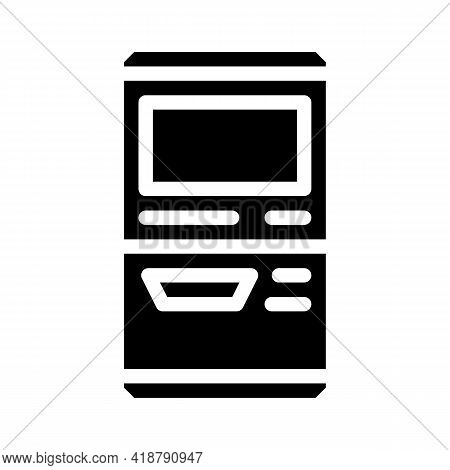 Terminal For Buying Ticket Glyph Icon Vector. Terminal For Buying Ticket Sign. Isolated Contour Symb