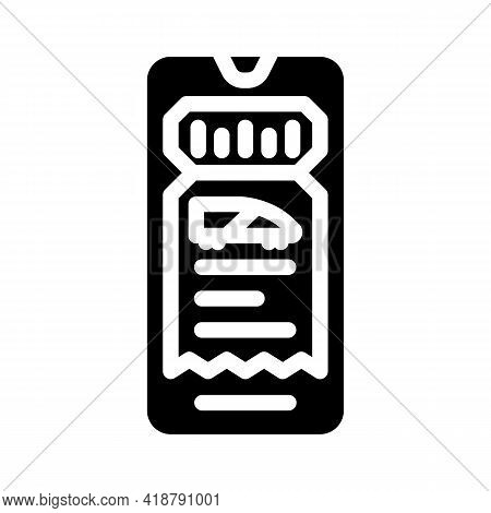 Electronic Ticket E-ticket Glyph Icon Vector. Electronic Ticket E-ticket Sign. Isolated Contour Symb