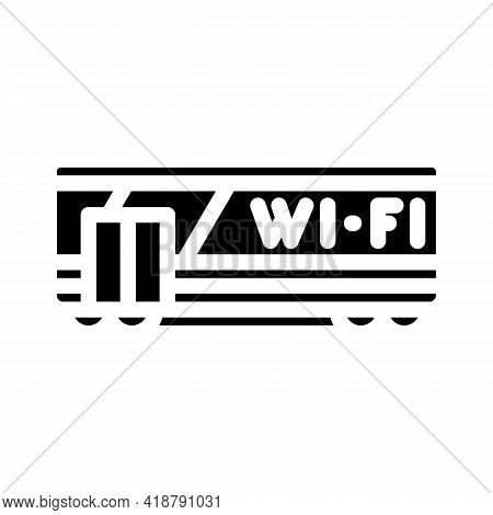 Wagon With Wifi Glyph Icon Vector. Wagon With Wifi Sign. Isolated Contour Symbol Black Illustration