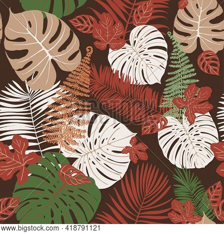 Tropics Leaves Seampless Pattern Vector Modern. Color Beige Green, Trend