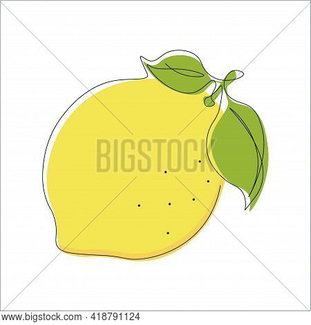 Continuous Single Line Drawing Of Lemon With Yellow Color. Drawing A Whole Fruit With A Single Line.