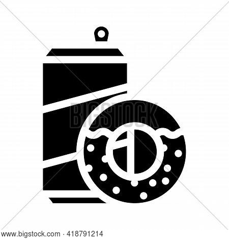 Donuts Snack And Drink Bottle Glyph Icon Vector. Donuts Snack And Drink Bottle Sign. Isolated Contou