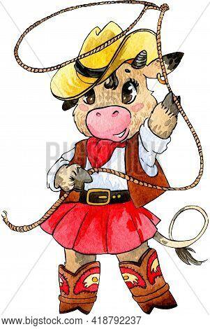Cute Cow Cowboy With Lasso. Cartoon Style. Watercolor Work, Handmade