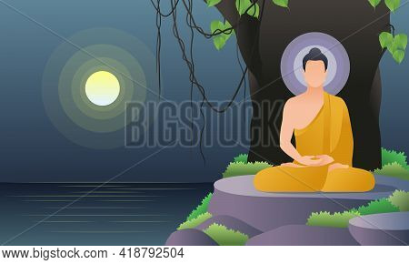 Scenery The Lord Buddha Meditation Under Bodhi Tree Near The River And Fullmoon Night Cartoon Vector