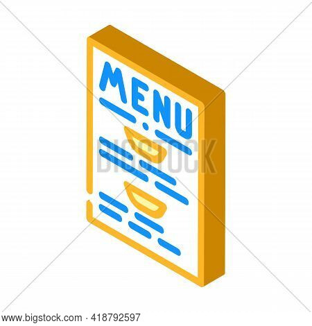 Menu Buffet Isometric Icon Vector. Menu Buffet Sign. Isolated Symbol Illustration