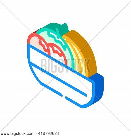 Fruits And Berries In Plate Buffet Isometric Icon Vector. Fruits And Berries In Plate Buffet Sign. I