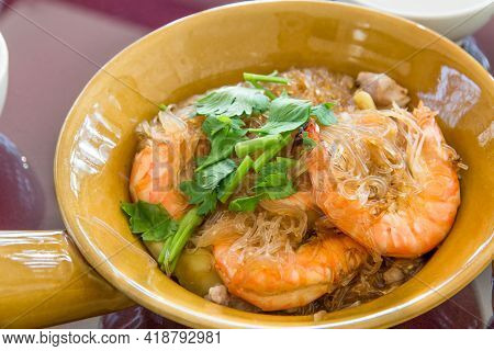 Baked Shrimp With Glass Noodles Tasty Food,casseroled Prawns In Glass Noodle With Vermicelli In Brow