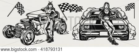 Custom Retro Cars Monochrome Concept In Vintage Style With Racing Checkered Flags Attractive Mechani