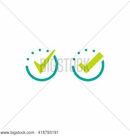 Done Check Mark Set. Valid Seal Icon.green Tick In Blue Circle. Flat Ok Sticker Icon. Isolated On Wh