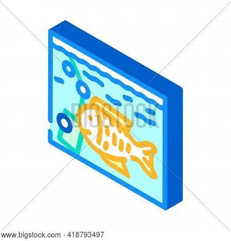 Aquarium With Fish Isometric Icon Vector. Aquarium With Fish Sign. Isolated Symbol Illustration