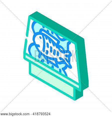 Showcase With Fish Isometric Icon Vector. Showcase With Fish Sign. Isolated Symbol Illustration