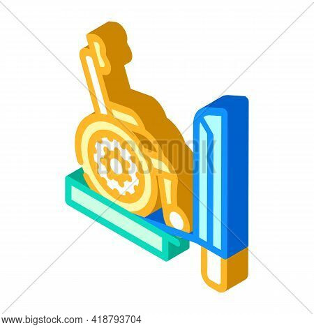 Ramp To Train Isometric Icon Vector. Ramp To Train Sign. Isolated Symbol Illustration