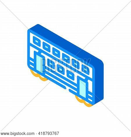 Double-deck Wagon Isometric Icon Vector. Double-deck Wagon Sign. Isolated Symbol Illustration