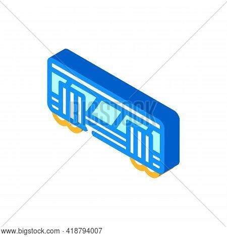 Railway Carriage Isometric Icon Vector. Railway Carriage Sign. Isolated Symbol Illustration