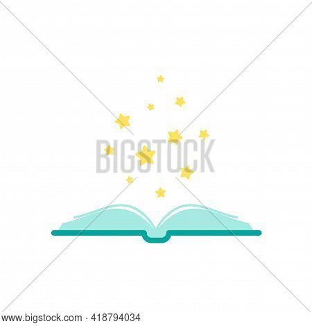Open Blue Book With Gold Stars Flying Out. Isolated On White Background. Flat Icon. Vector Illustrat