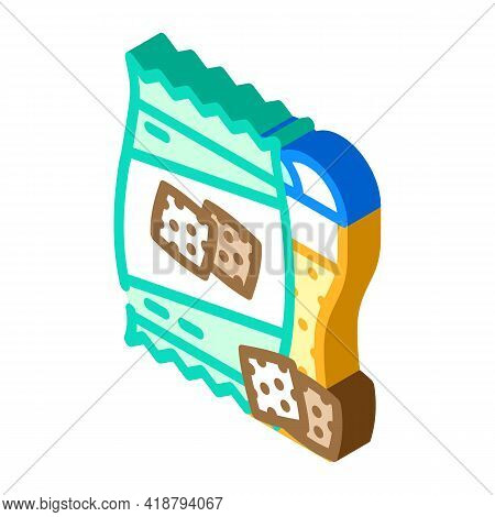 Rusks Snack For Beer Isometric Icon Vector. Rusks Snack For Beer Sign. Isolated Symbol Illustration