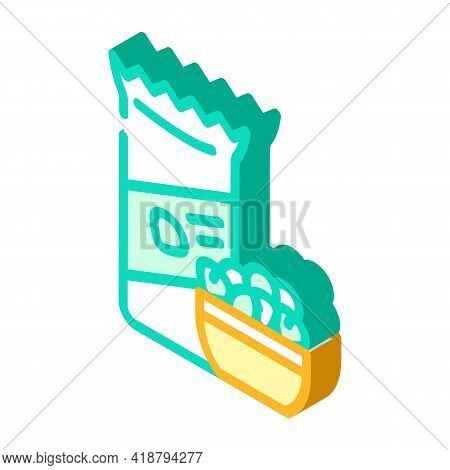 Nuts Snack Isometric Icon Vector. Nuts Snack Sign. Isolated Symbol Illustration