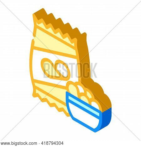 Chips Snack Isometric Icon Vector. Chips Snack Sign. Isolated Symbol Illustration