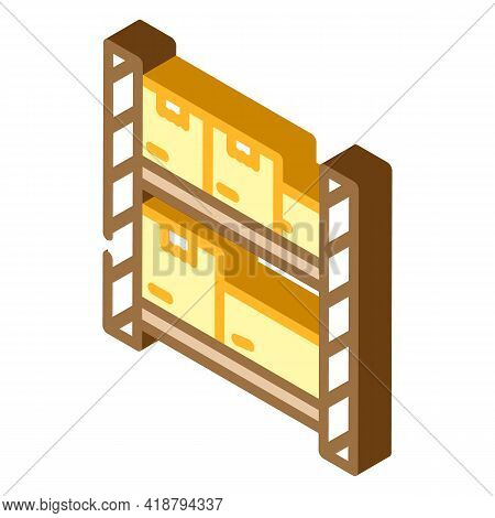 Warehouse Shelves Wholesale Isometric Icon Vector. Warehouse Shelves Wholesale Sign. Isolated Symbol