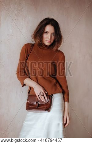 Girl In A Trendy Spring Set Of Clothes. Natural Colors. Trend Of 2021. Natural Female Beauty.