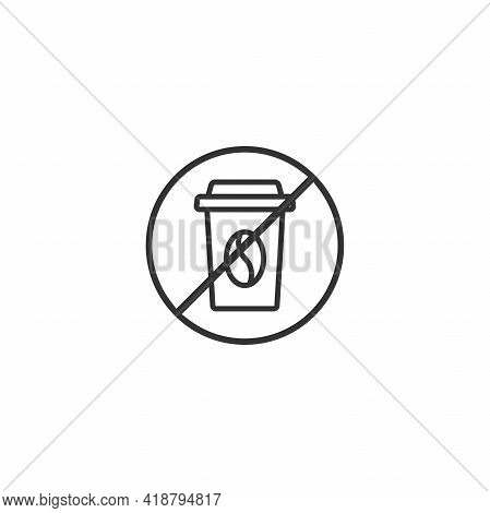Take-out Coffee Cup In Red Crossed Circle. No Drinks Seal Or Stamp. No Coffee, Caffeine Icon. Flat V
