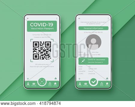 Covid-19 Passport App. Vaccination Passport App Interface. Ui Kit On Smartphone Screen. Mobile Inter