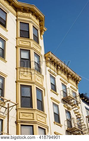 Typical Historic Multistory Building With Bay Windows And Fire Escape, Hoboken, New Jersey, Usa