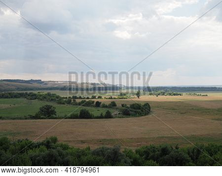 Steppe Landscape. Lonely Green Plants .the Steppe Is Woodless. Ravine In The Steppe. Aerial Photo.