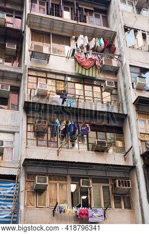 Hong Kong Island, Hong Kong, China, Asia - April 28, 2021: Detail Of Housing Project Apartments In H
