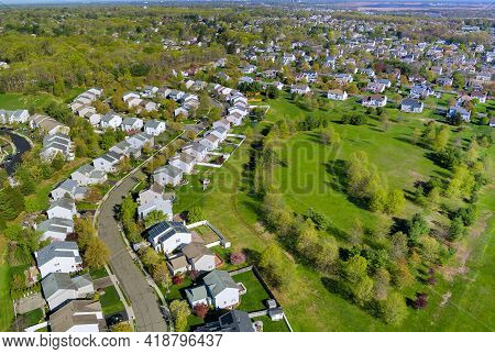 Panorama View Of American Small Town Residential Houses Neighborhood Housing Development Suburban Co