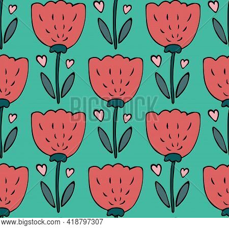 Cute Seamless Pattern Vector Background With Hand Drawn Red Tulip Flower Doodle With Hearts In Simpl