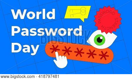 World Password Day Vector Illustration Isolated On Blue Background. Security Eye Concept, Key Icon I