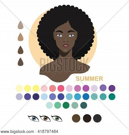 Black Woman Appearance Color Type Summer. Woman Portrait With Color Type Or Types Of Skin Color. Fas