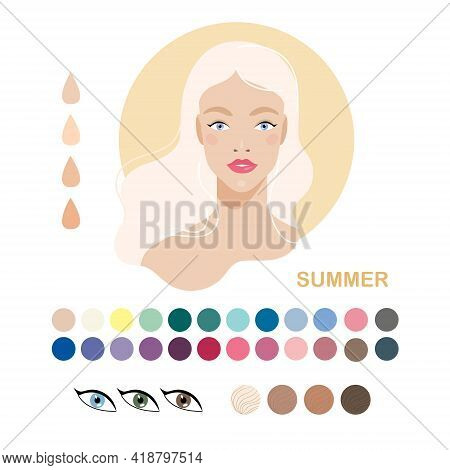 Woman Appearance Color Type Summer. Woman Portrait. Fashion Guide Chart With Analysis Of Skin Tone C
