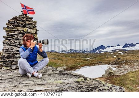 Tourist Woman Enjoy Mountains Landscape, Taking Travel Photo With Camera. National Tourist Scenic Ro