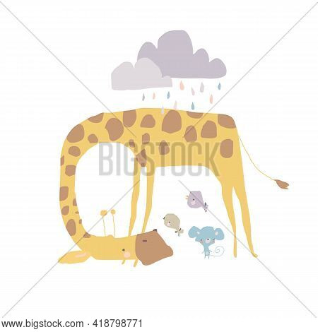 Cute Giraffe Shelters Mouse And Birds From The Rain