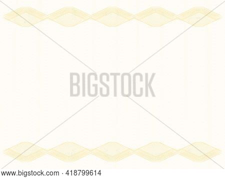 Certificate Background With Rhombus Border, Copy Space. Golden Guilloche, Watermark Pattern, Subtle