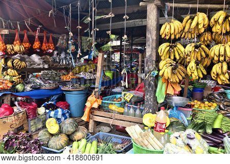 El Nido, Philippines - December 2, 2017: Fruit And Vegetables At A Local Food Market Place In El Nid
