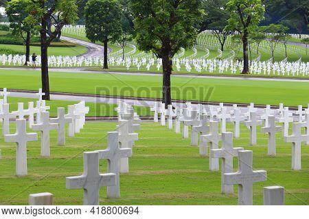 Manila, Philippines - December 8, 2017: Manila American Cemetery In Bonifacio Global City, Taguig, G