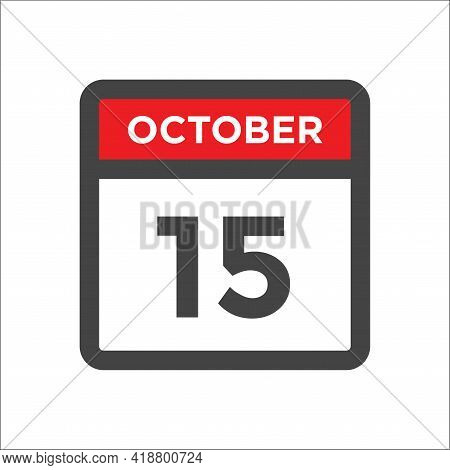 October 15 Calendar Icon - Day Of Month