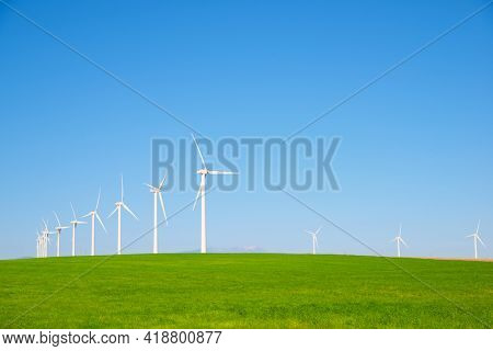 Windmills for renewable electric energy production in Zaragoza province, Aragon in Spain.