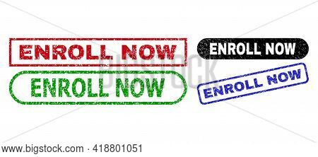 Enroll Now Grunge Watermarks. Flat Vector Scratched Seal Stamps With Enroll Now Message Inside Diffe