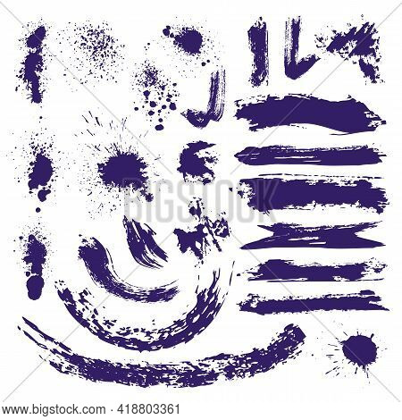 Ink Paint Brush Splashes, Brushstrokes And Blots Collection. Abstract Isolated Fluid Artistic Elemen