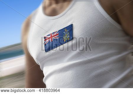 The National Flag Of South Georgia And The South Sandwich Islands On The Athletes Chest